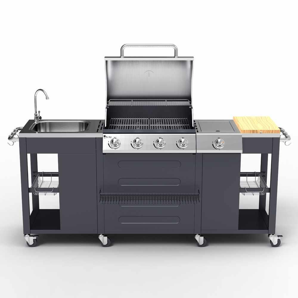 Barbecue BBQ Profissional Gás Aço Inox 4+1 Queimadores Grelha E Pia Beefmaster
