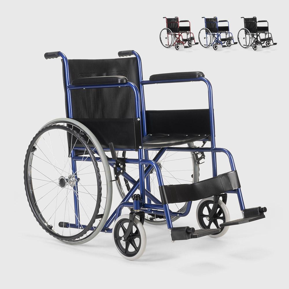 Cadeira de rodas ortopédica dobrável em imitação de couro deficientes e idosos violet