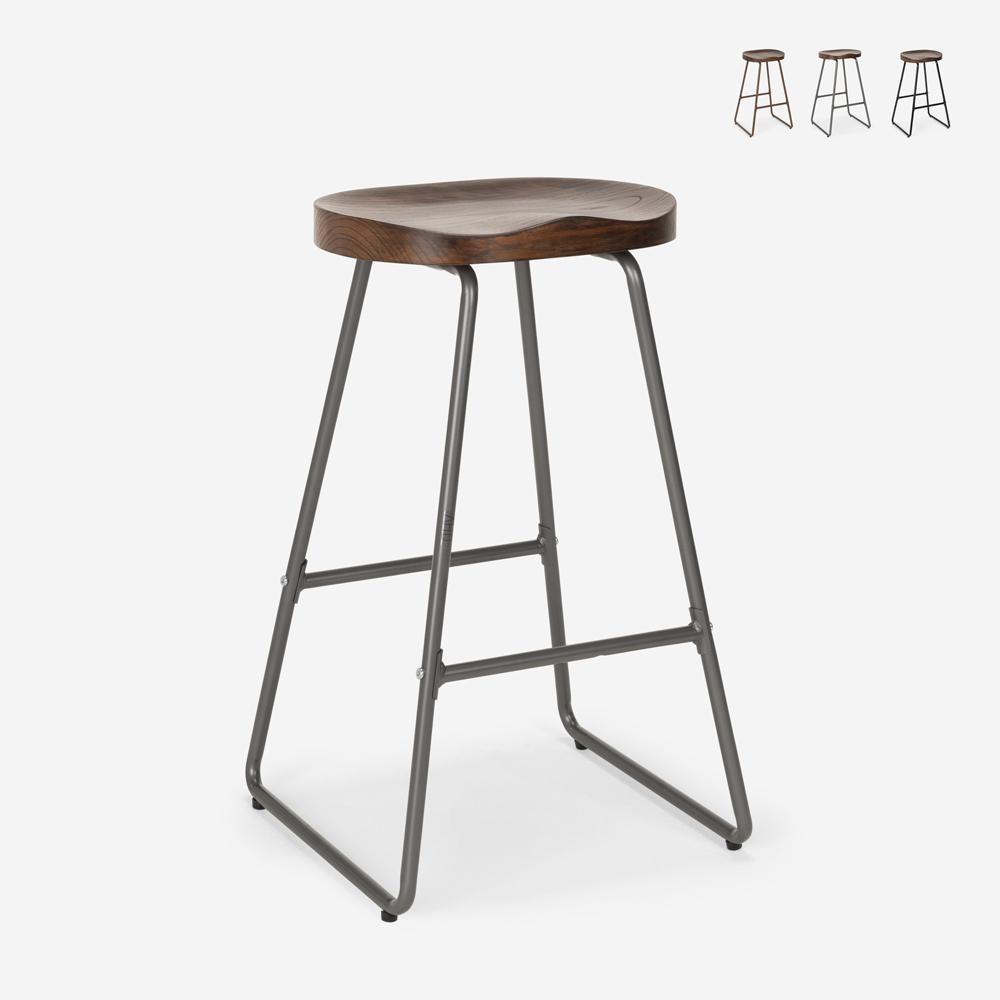 Banqueta de desenho industrial em metal e madeira para bares, cozinhas, bares, restaurantes Carbon
