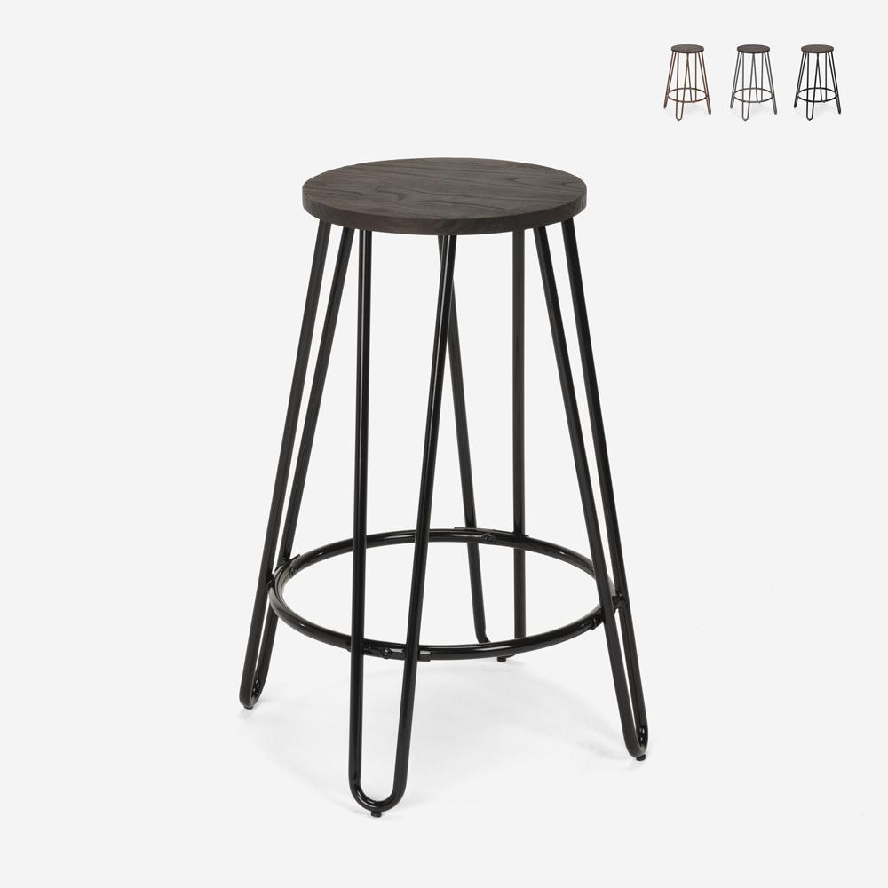 Banqueta alta em metal madeira design industrial para bares, restaurantes, cozinhas Carbon Top