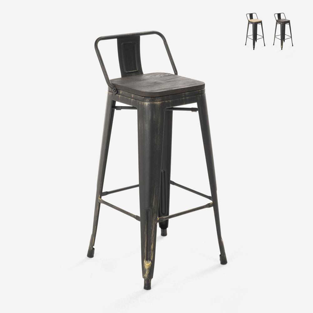 Banco de design industrial metal madeira estilo vintage tolix Brush Top