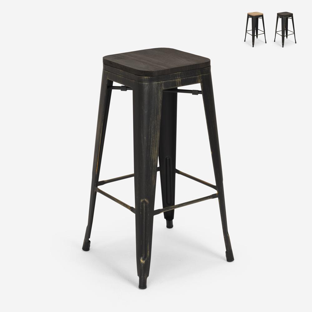 Banco design metal madeira estilo industrial tolix bar cozinhas Brush Up