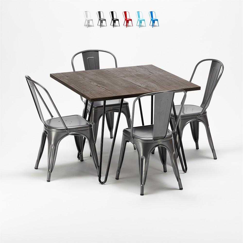 Mesa e cadeiras quadradas em metal e madeira no estilo industrial Tolix Pigalle