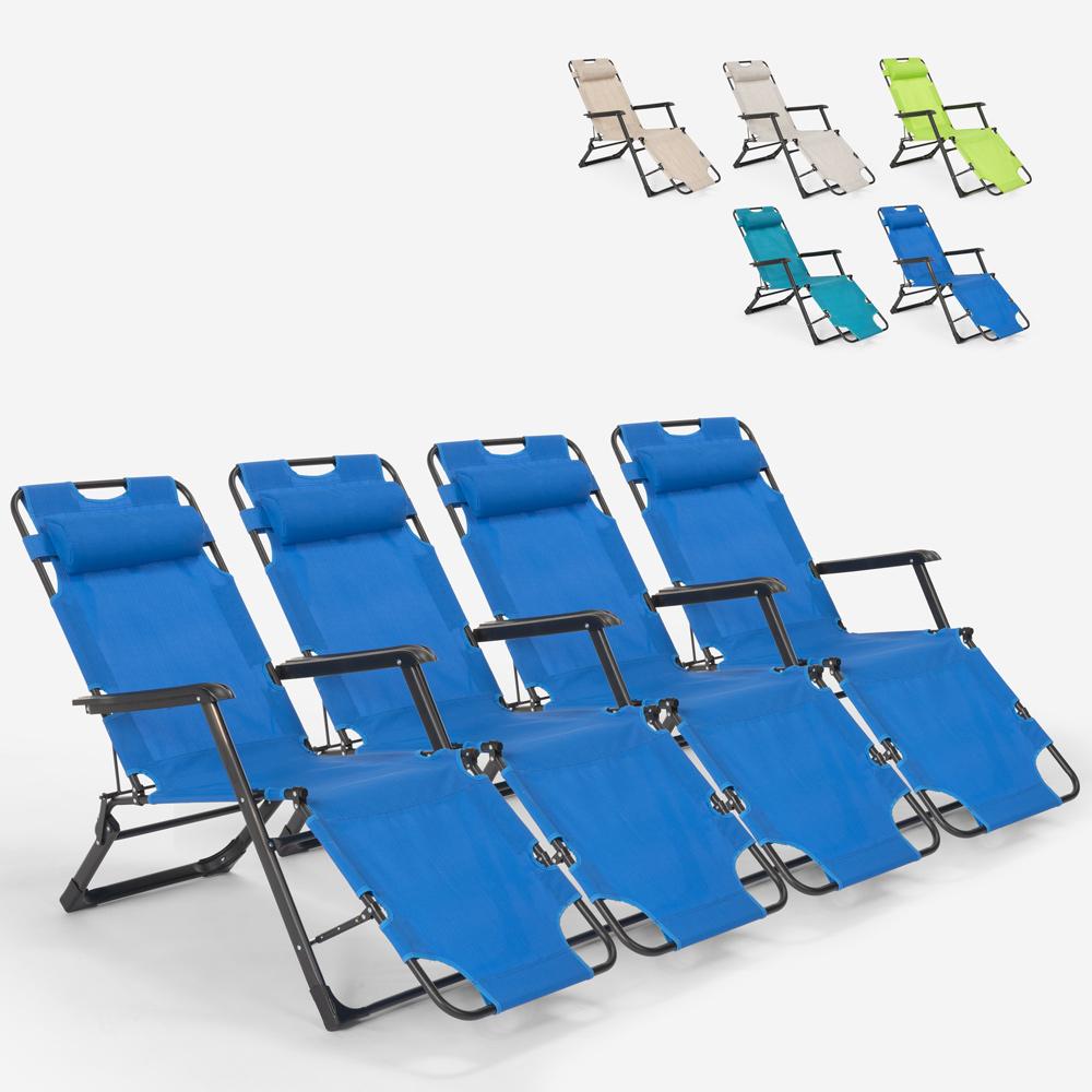 4 cadeiras de praia dobráveis com várias posições para jardim Emily Lux Zero gravity