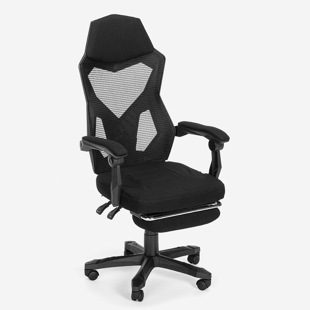 Cadeira gaming ergonómica respirável design futuristico repousa-pés Gordian Plus Dark