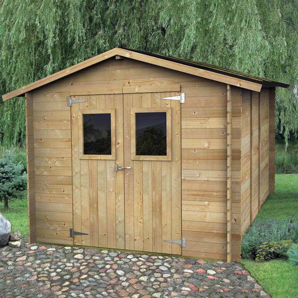 Jardim galpão de madeira para ferramentas garagem porta dupla Hobby 248x248